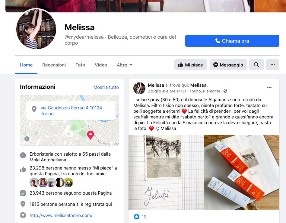 Pagina Facebook Melissa